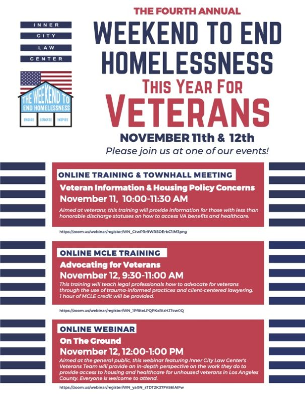 Fler about Weekend to End Homelessness for Veterans. November 11-12